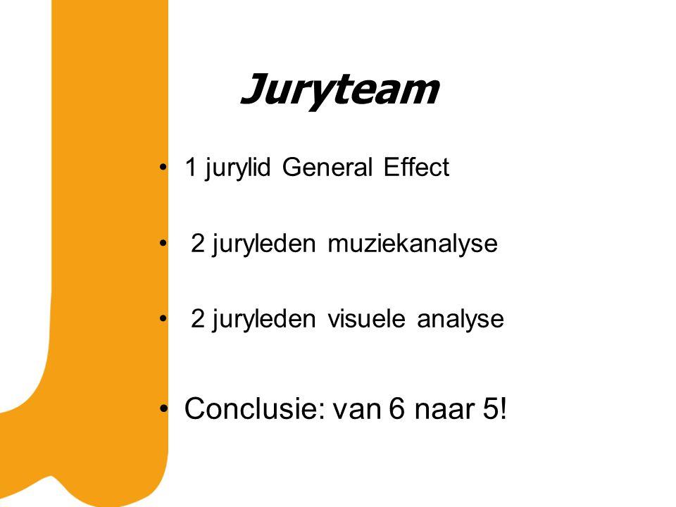 Juryteam 1 jurylid General Effect 2 juryleden muziekanalyse 2 juryleden visuele analyse Conclusie: van 6 naar 5!