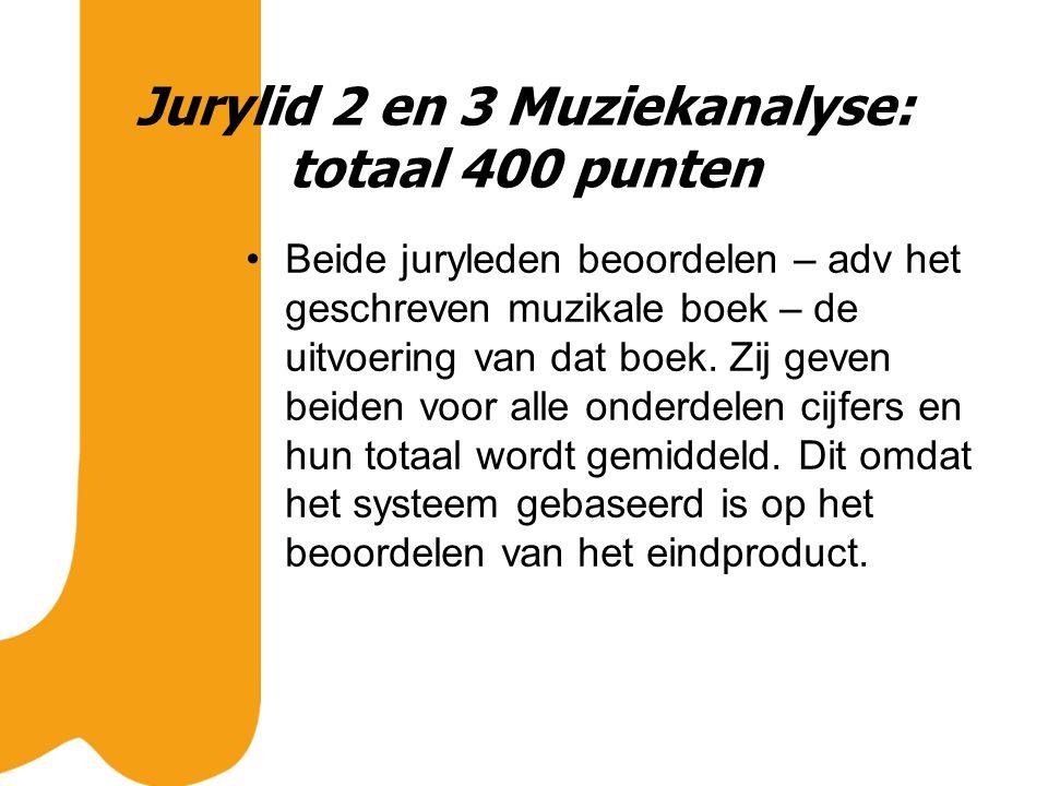 Jurylid 2 en 3 Muziekanalyse: totaal 400 punten Beide juryleden beoordelen – adv het geschreven muzikale boek – de uitvoering van dat boek.