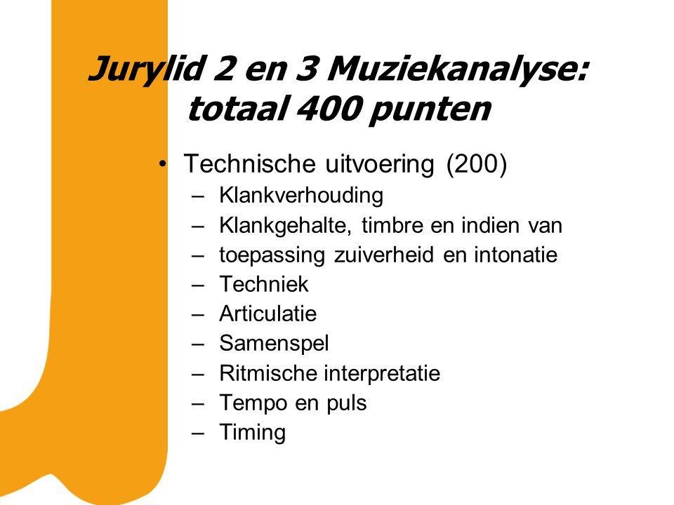 Jurylid 2 en 3 Muziekanalyse: totaal 400 punten Technische uitvoering (200) – Klankverhouding – Klankgehalte, timbre en indien van – toepassing zuiverheid en intonatie – Techniek – Articulatie – Samenspel – Ritmische interpretatie – Tempo en puls – Timing