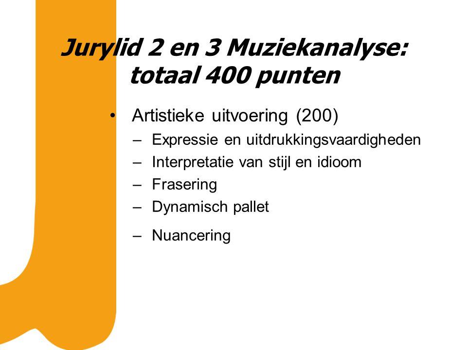 Jurylid 2 en 3 Muziekanalyse: totaal 400 punten Artistieke uitvoering (200) – Expressie en uitdrukkingsvaardigheden – Interpretatie van stijl en idioom – Frasering – Dynamisch pallet – Nuancering