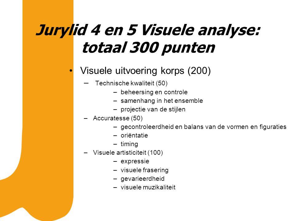 Jurylid 4 en 5 Visuele analyse: totaal 300 punten Visuele uitvoering korps (200) – Technische kwaliteit (50) –beheersing en controle –samenhang in het ensemble –projectie van de stijlen –Accuratesse (50) –gecontroleerdheid en balans van de vormen en figuraties –oriëntatie –timing –Visuele artisticiteit (100) –expressie –visuele frasering –gevarieerdheid –visuele muzikaliteit
