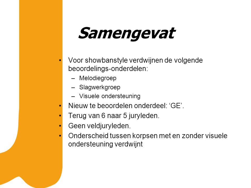 Samengevat Voor showbanstyle verdwijnen de volgende beoordelings-onderdelen: –Melodiegroep –Slagwerkgroep –Visuele ondersteuning Nieuw te beoordelen onderdeel: 'GE'.