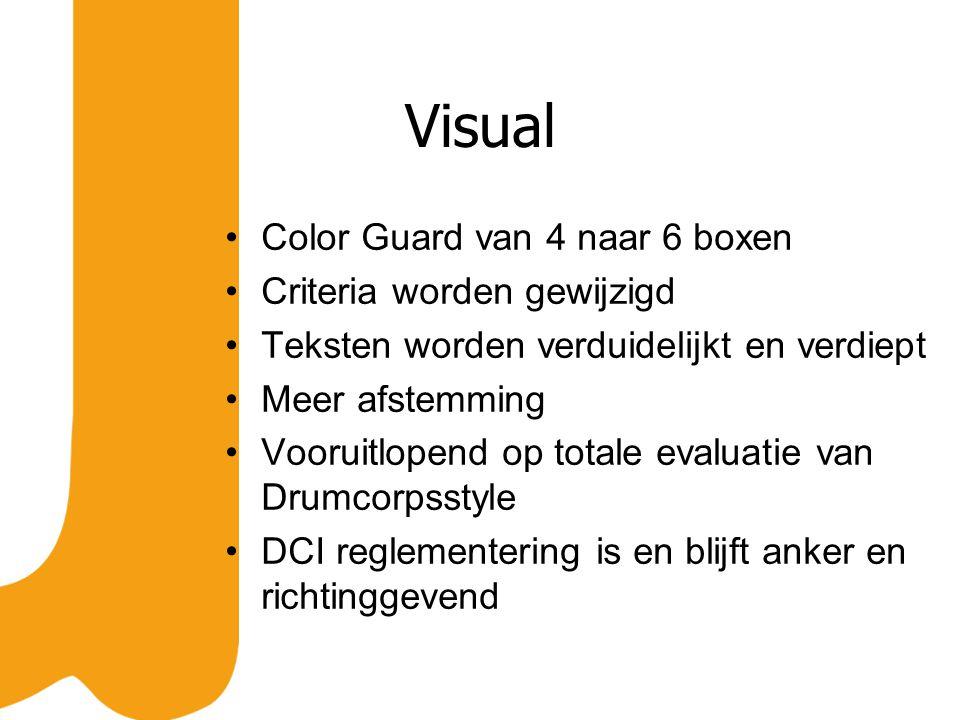 Visual Color Guard van 4 naar 6 boxen Criteria worden gewijzigd Teksten worden verduidelijkt en verdiept Meer afstemming Vooruitlopend op totale evaluatie van Drumcorpsstyle DCI reglementering is en blijft anker en richtinggevend
