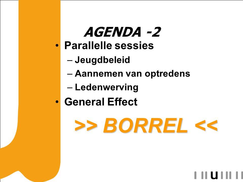 AGENDA -2 Parallelle sessies –Jeugdbeleid –Aannemen van optredens –Ledenwerving General Effect >> BORREL > BORREL <<
