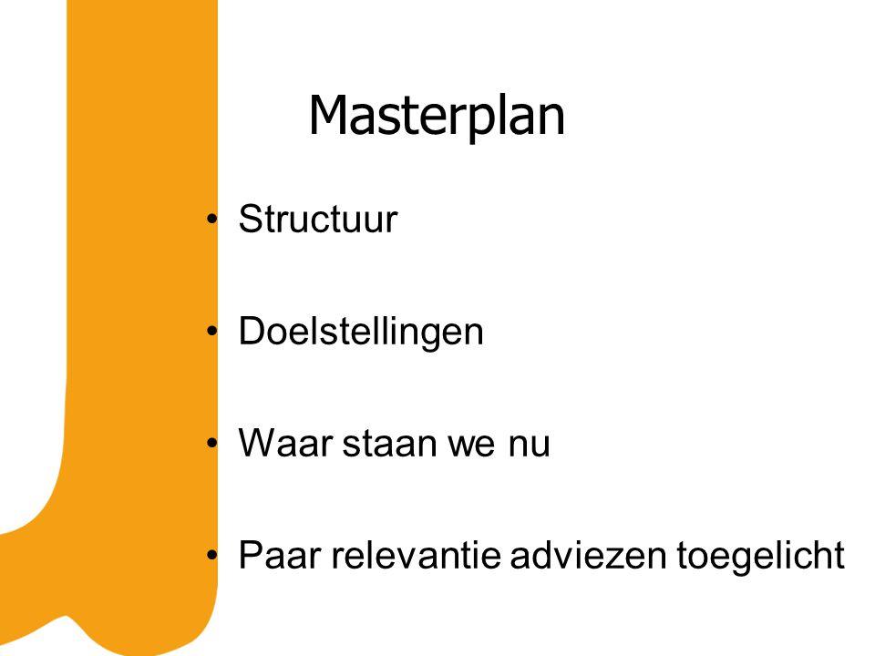 Masterplan Structuur Doelstellingen Waar staan we nu Paar relevantie adviezen toegelicht