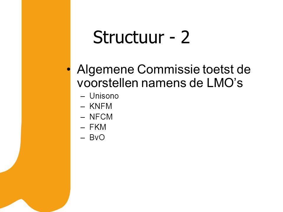Structuur - 2 Algemene Commissie toetst de voorstellen namens de LMO's –Unisono –KNFM –NFCM –FKM –BvO