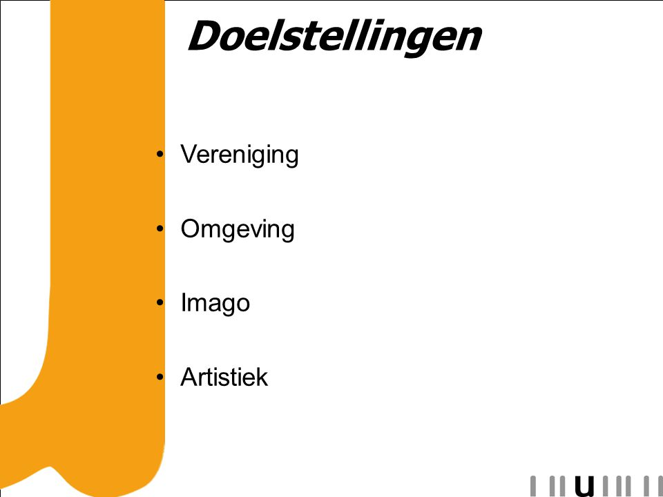 Doelstellingen Vereniging Omgeving Imago Artistiek