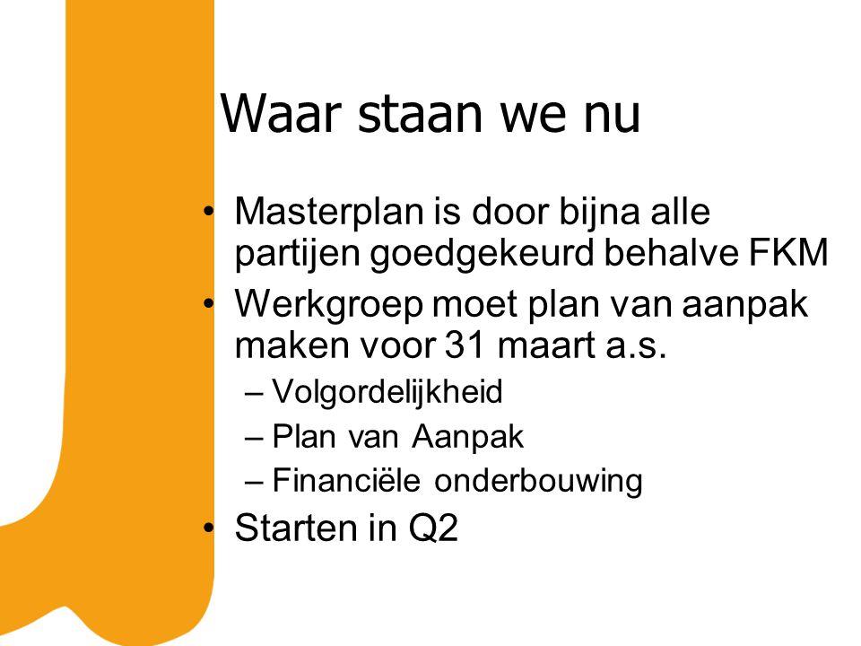 Waar staan we nu Masterplan is door bijna alle partijen goedgekeurd behalve FKM Werkgroep moet plan van aanpak maken voor 31 maart a.s.