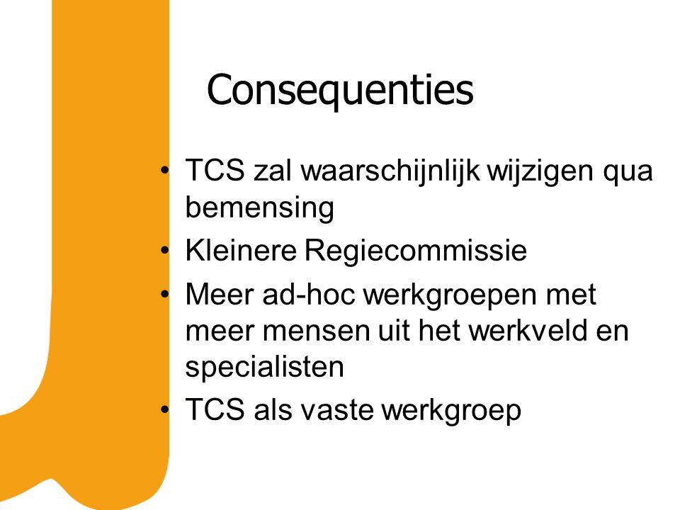 Consequenties TCS zal waarschijnlijk wijzigen qua bemensing Kleinere Regiecommissie Meer ad-hoc werkgroepen met meer mensen uit het werkveld en specialisten TCS als vaste werkgroep