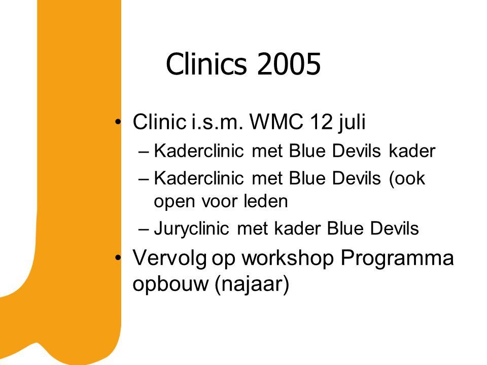 Clinic i.s.m. WMC 12 juli –Kaderclinic met Blue Devils kader –Kaderclinic met Blue Devils (ook open voor leden –Juryclinic met kader Blue Devils Vervo