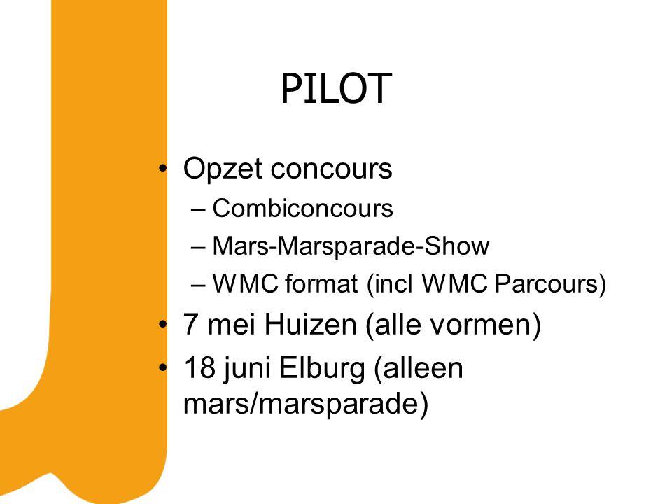 PILOT Opzet concours –Combiconcours –Mars-Marsparade-Show –WMC format (incl WMC Parcours) 7 mei Huizen (alle vormen) 18 juni Elburg (alleen mars/marsparade)