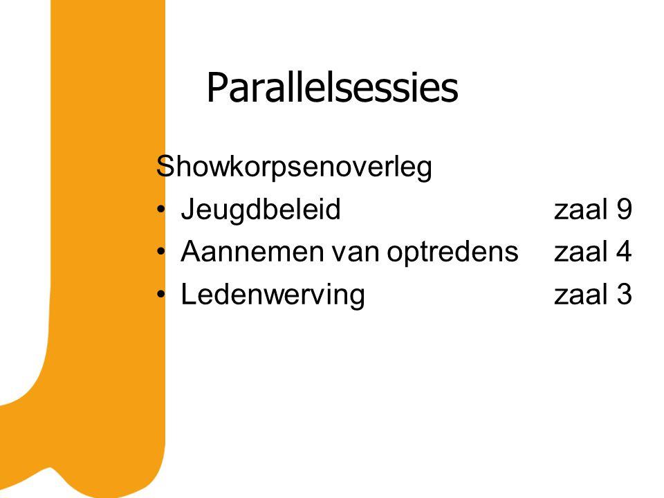 Parallelsessies Showkorpsenoverleg Jeugdbeleidzaal 9 Aannemen van optredenszaal 4 Ledenwervingzaal 3