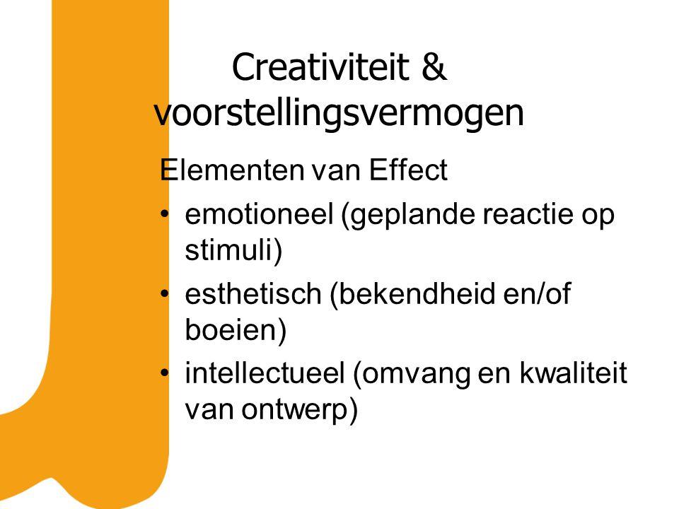 Creativiteit & voorstellingsvermogen Elementen van Effect emotioneel (geplande reactie op stimuli) esthetisch (bekendheid en/of boeien) intellectueel (omvang en kwaliteit van ontwerp)