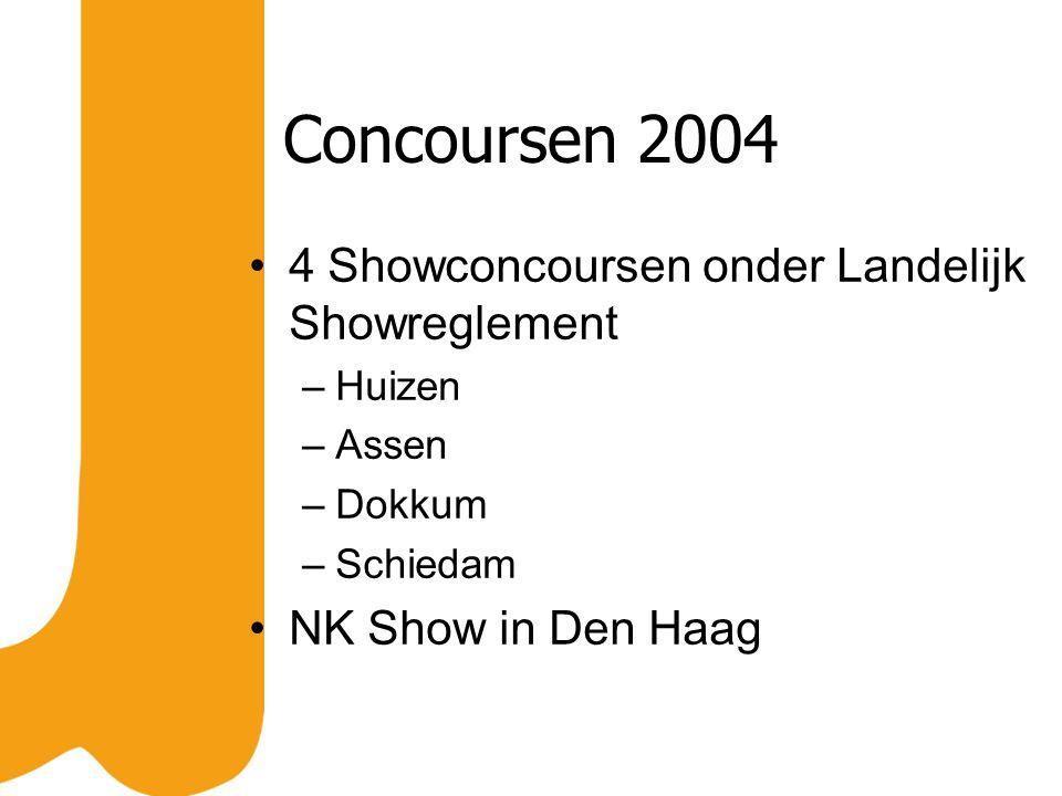 Concoursen 2004 4 Showconcoursen onder Landelijk Showreglement –Huizen –Assen –Dokkum –Schiedam NK Show in Den Haag