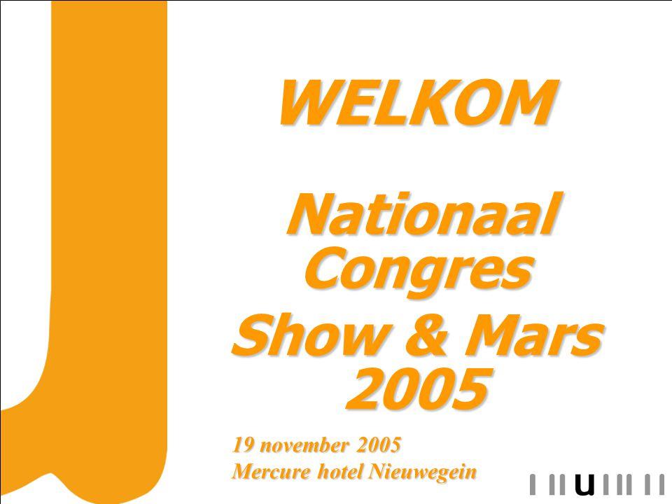 WELKOM WELKOM Nationaal Congres Nationaal Congres Show & Mars 2005 19 november 2005 Mercure hotel Nieuwegein