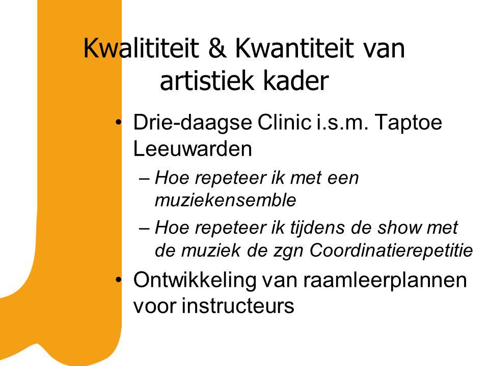 Kwalititeit & Kwantiteit van artistiek kader Drie-daagse Clinic i.s.m. Taptoe Leeuwarden –Hoe repeteer ik met een muziekensemble –Hoe repeteer ik tijd