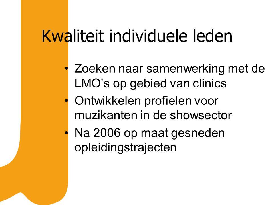 Kwaliteit individuele leden Zoeken naar samenwerking met de LMO's op gebied van clinics Ontwikkelen profielen voor muzikanten in de showsector Na 2006 op maat gesneden opleidingstrajecten