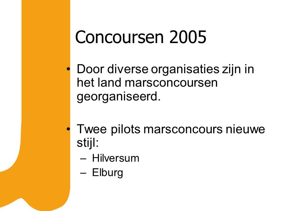 Concoursen 2005 Door diverse organisaties zijn in het land marsconcoursen georganiseerd. Twee pilots marsconcours nieuwe stijl: – Hilversum – Elburg