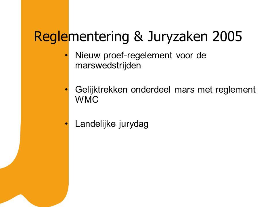 Reglementering & Juryzaken 2005 Nieuw proef-regelement voor de marswedstrijden Gelijktrekken onderdeel mars met reglement WMC Landelijke jurydag