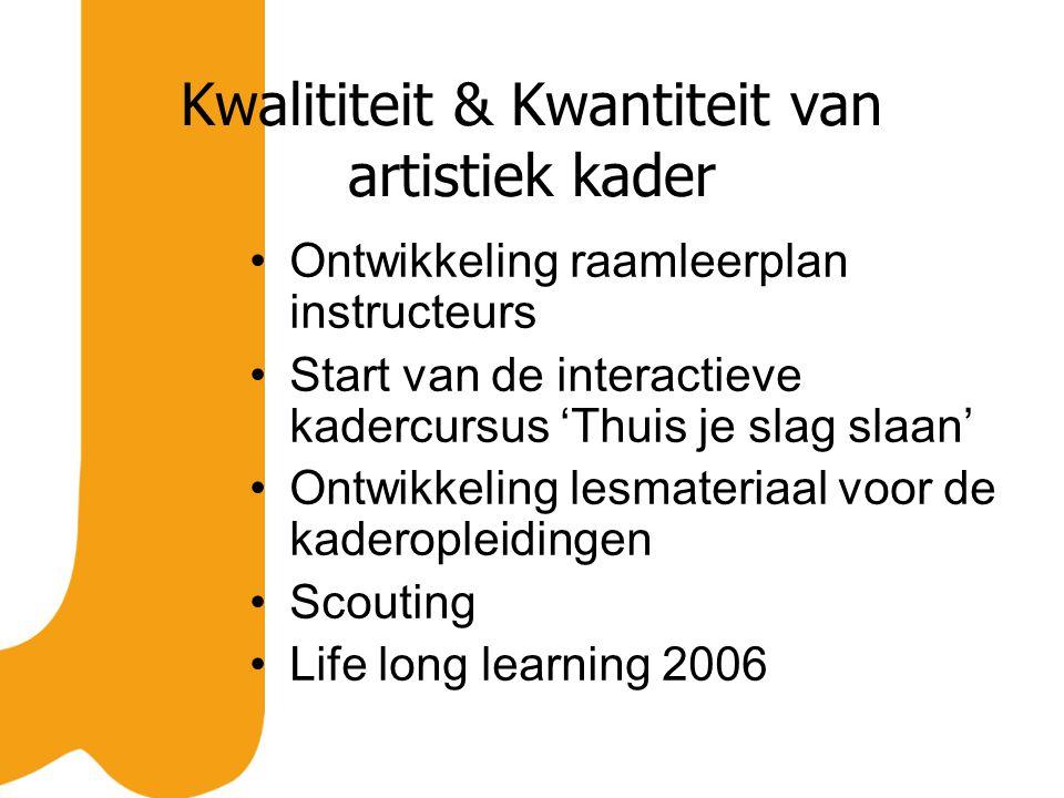 Kwalititeit & Kwantiteit van artistiek kader Ontwikkeling raamleerplan instructeurs Start van de interactieve kadercursus 'Thuis je slag slaan' Ontwikkeling lesmateriaal voor de kaderopleidingen Scouting Life long learning 2006