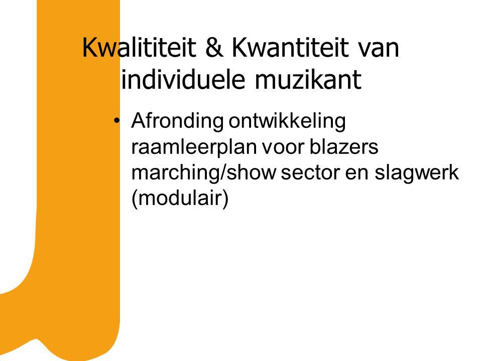 Kwalititeit & Kwantiteit van individuele muzikant Afronding ontwikkeling raamleerplan voor blazers marching/show sector en slagwerk (modulair)