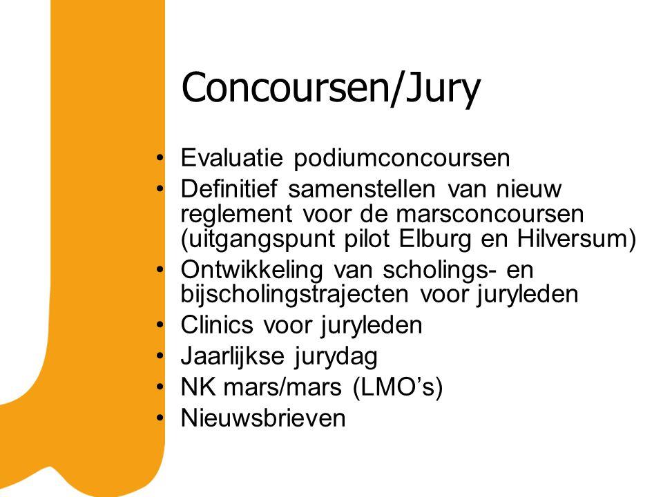 Concoursen/Jury Evaluatie podiumconcoursen Definitief samenstellen van nieuw reglement voor de marsconcoursen (uitgangspunt pilot Elburg en Hilversum)
