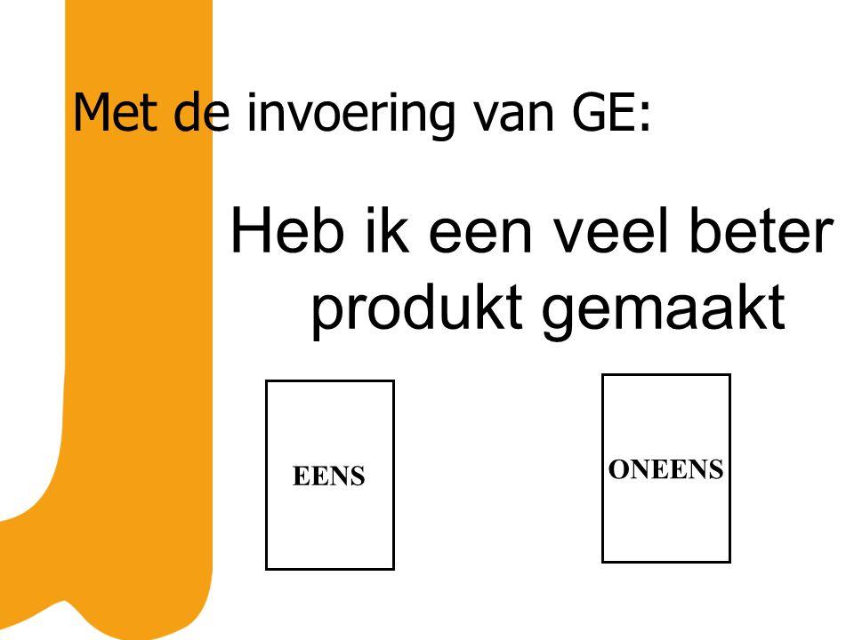 Met de invoering van GE: Heb ik een veel beter produkt gemaakt EENS ONEENS