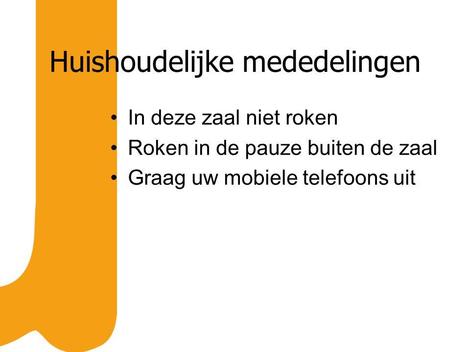 Huishoudelijke mededelingen In deze zaal niet roken Roken in de pauze buiten de zaal Graag uw mobiele telefoons uit