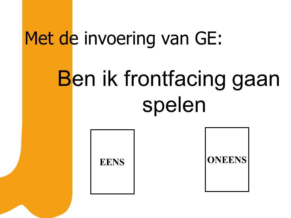 Met de invoering van GE: Ben ik frontfacing gaan spelen EENS ONEENS