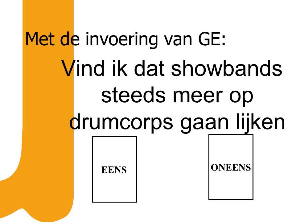 Met de invoering van GE: Vind ik dat showbands steeds meer op drumcorps gaan lijken EENS ONEENS