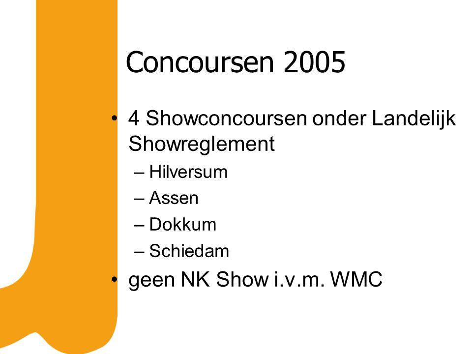 Concoursen 2005 4 Showconcoursen onder Landelijk Showreglement –Hilversum –Assen –Dokkum –Schiedam geen NK Show i.v.m. WMC