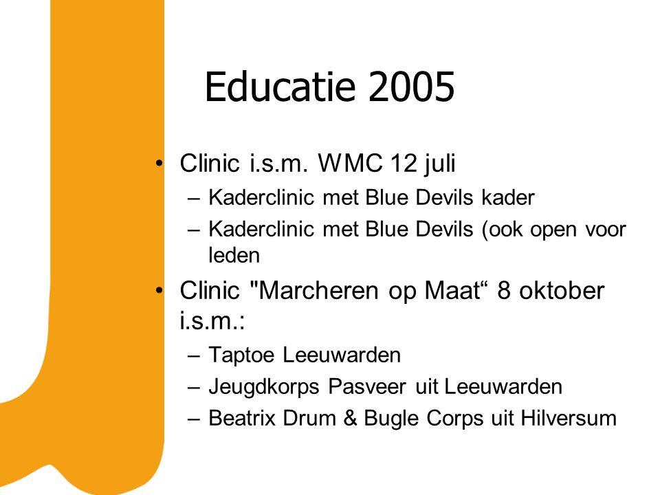 Educatie 2005 Clinic i.s.m. WMC 12 juli –Kaderclinic met Blue Devils kader –Kaderclinic met Blue Devils (ook open voor leden Clinic