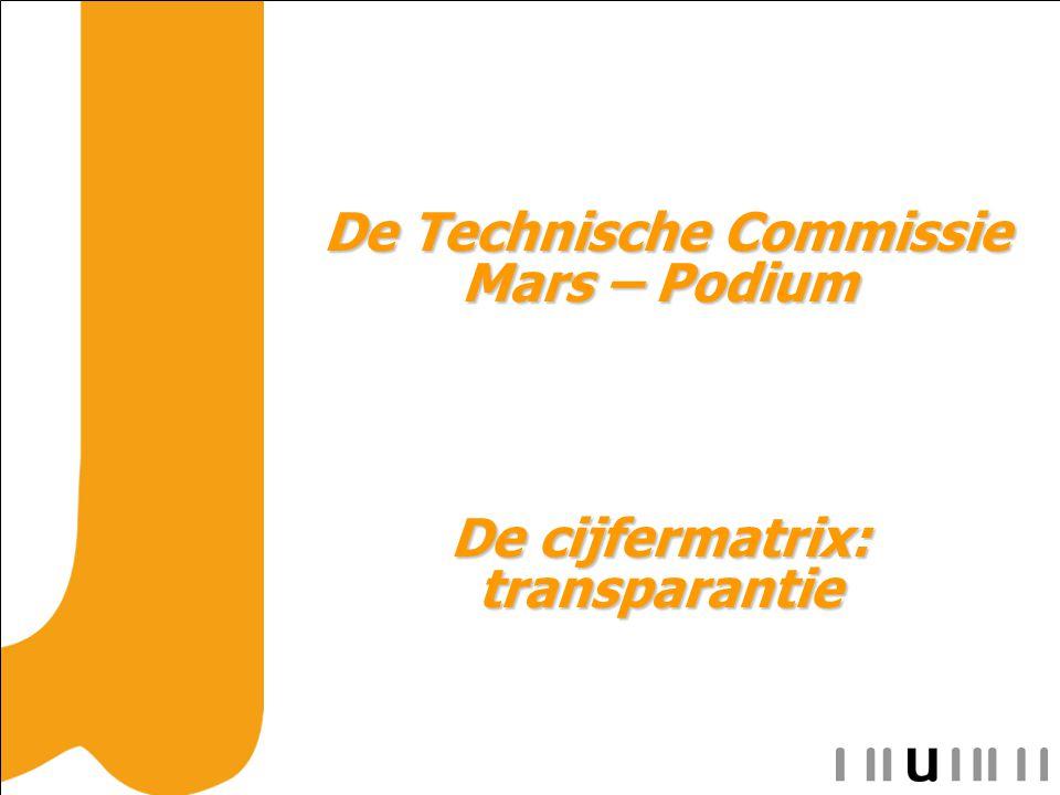 De Technische Commissie Mars – Podium De Technische Commissie Mars – Podium De cijfermatrix: transparantie