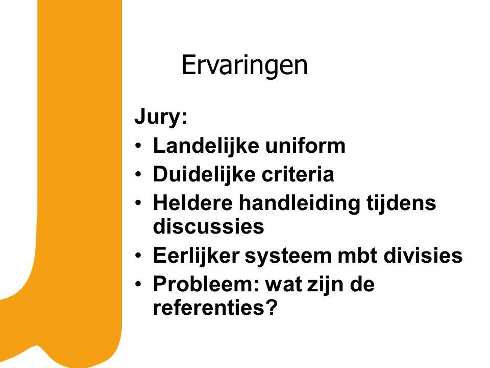 Ervaringen Jury: Landelijke uniform Duidelijke criteria Heldere handleiding tijdens discussies Eerlijker systeem mbt divisies Probleem: wat zijn de referenties