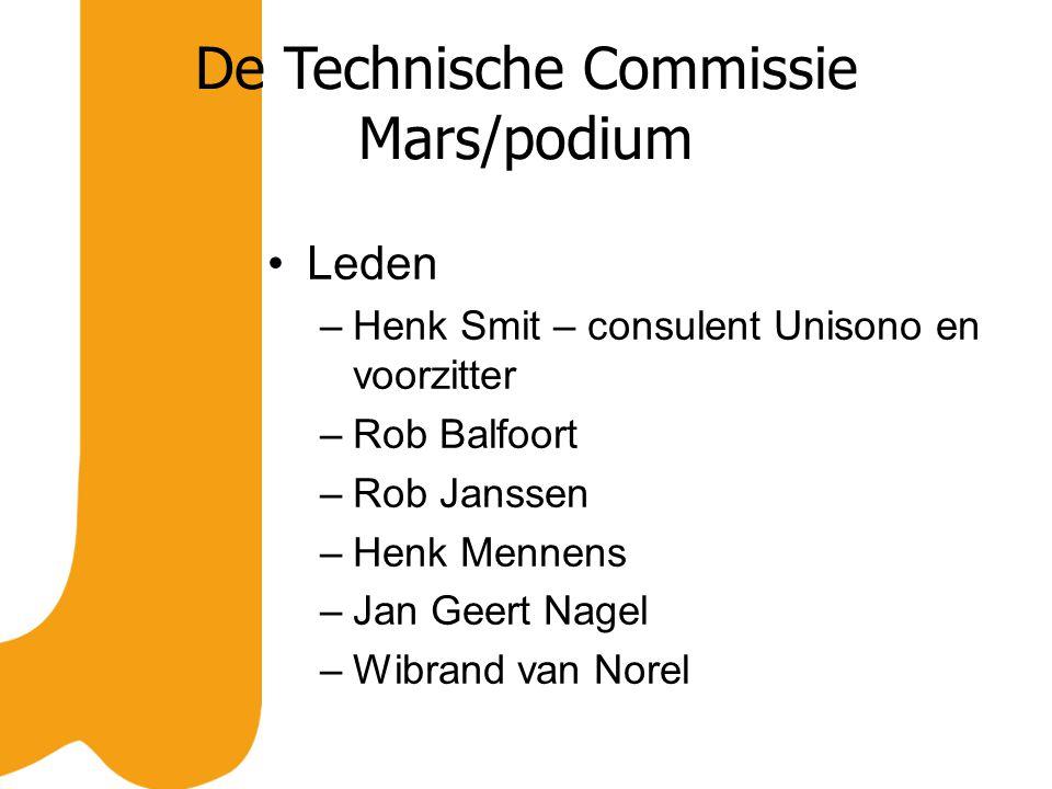 De Technische Commissie Mars/podium Leden –Henk Smit – consulent Unisono en voorzitter –Rob Balfoort –Rob Janssen –Henk Mennens –Jan Geert Nagel –Wibrand van Norel