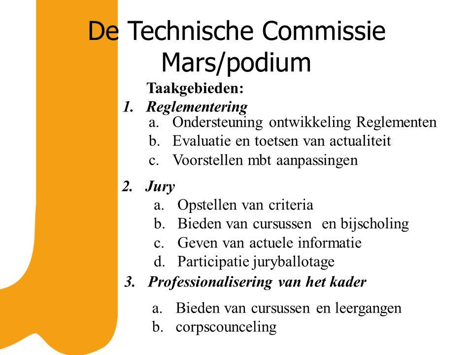 De Technische Commissie Mars/podium Taakgebieden: a.Ondersteuning ontwikkeling Reglementen b.Evaluatie en toetsen van actualiteit c.Voorstellen mbt aa