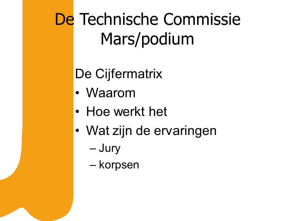 De Technische Commissie Mars/podium De Cijfermatrix Waarom Hoe werkt het Wat zijn de ervaringen –Jury –korpsen