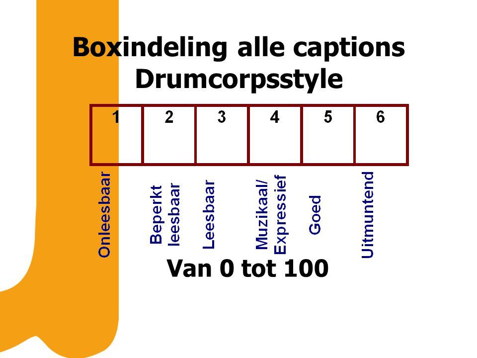 Boxindeling alle captions Drumcorpsstyle Van 0 tot 100