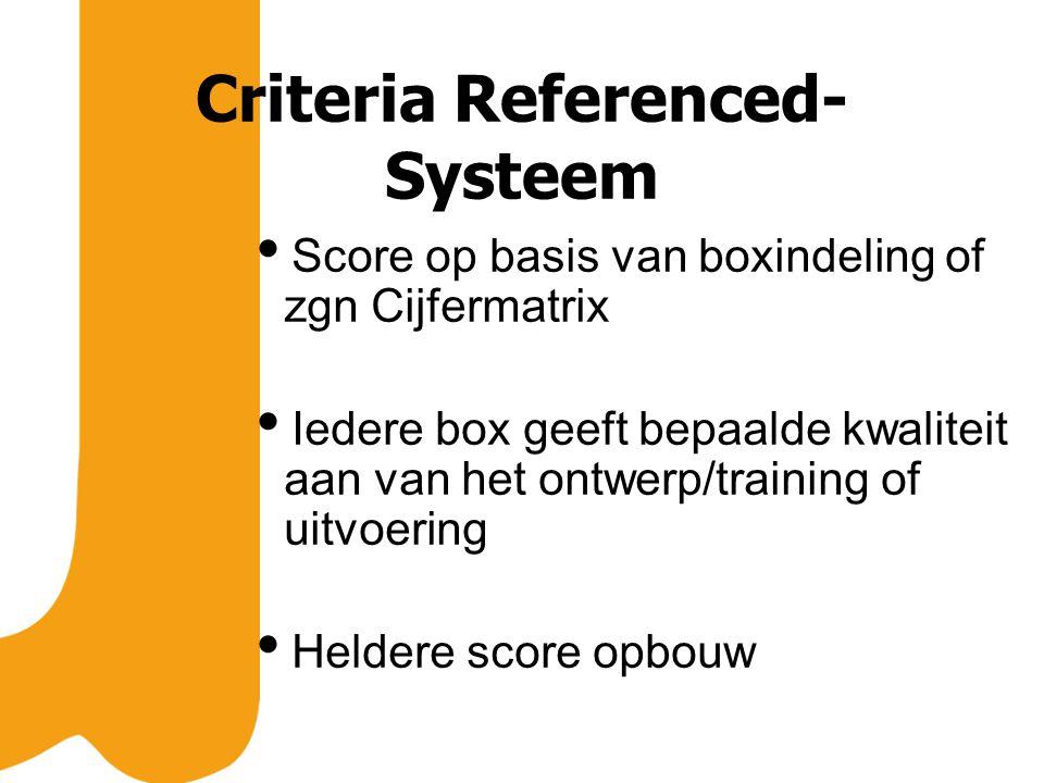 Criteria Referenced- Systeem  Score op basis van boxindeling of zgn Cijfermatrix  Iedere box geeft bepaalde kwaliteit aan van het ontwerp/training of uitvoering  Heldere score opbouw
