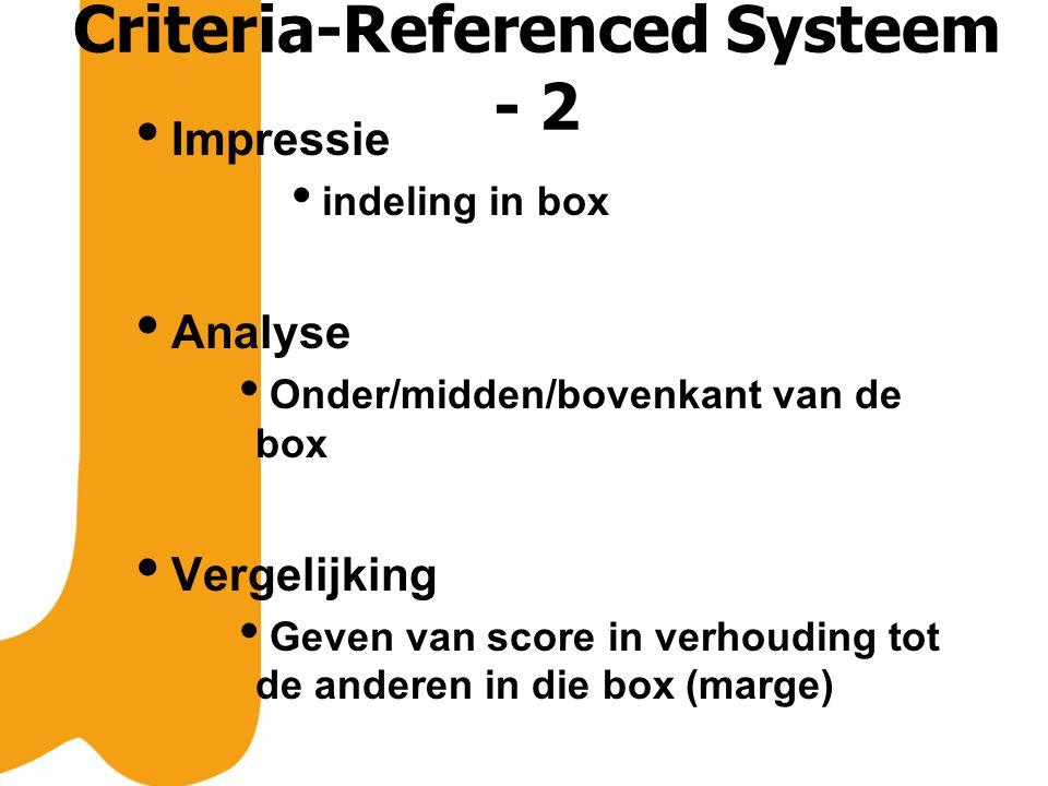 Criteria-Referenced Systeem - 2  Impressie  indeling in box  Analyse  Onder/midden/bovenkant van de box  Vergelijking  Geven van score in verhouding tot de anderen in die box (marge)