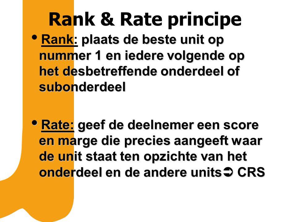 Rank & Rate principe plaats de beste unit op nummer 1 en iedere volgende op het desbetreffende onderdeel of subonderdeel  Rank: plaats de beste unit op nummer 1 en iedere volgende op het desbetreffende onderdeel of subonderdeel  Rate: geef de deelnemer een score en marge die precies aangeeft waar de unit staat ten opzichte van het onderdeel en de andere units  CRS