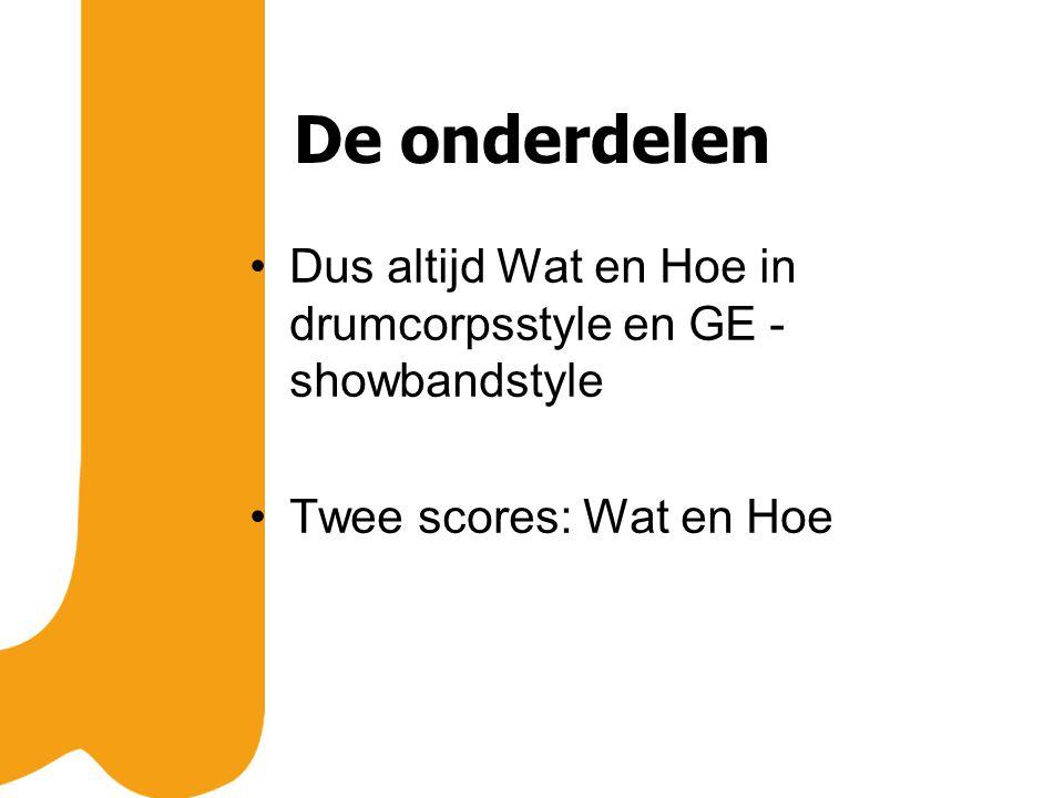 De onderdelen Dus altijd Wat en Hoe in drumcorpsstyle en GE - showbandstyle Twee scores: Wat en Hoe