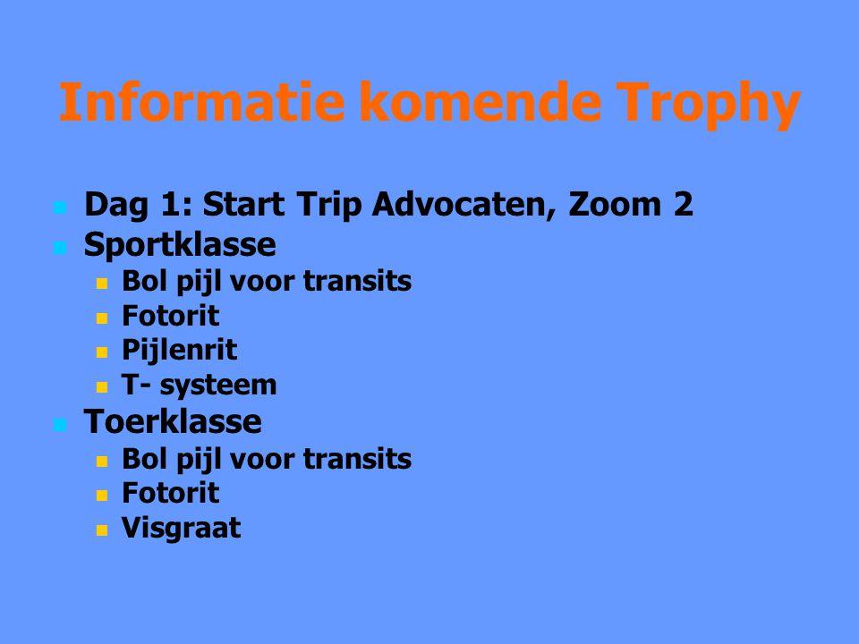Informatie komende Trophy Dag 1: Start Trip Advocaten, Zoom 2 Sportklasse Bol pijl voor transits Fotorit Pijlenrit T- systeem Toerklasse Bol pijl voor