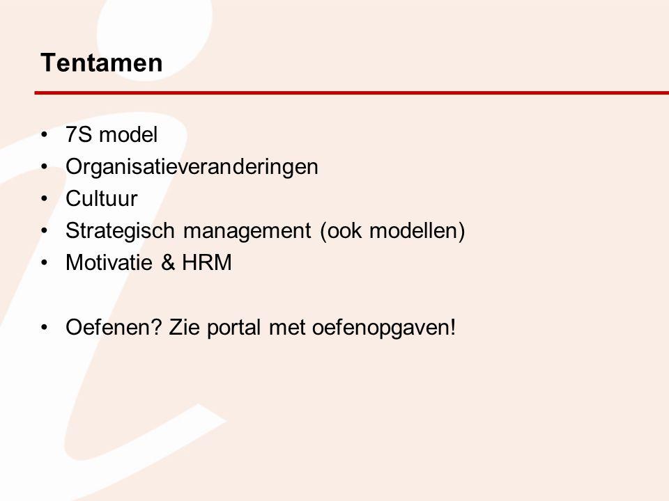 Tentamen 7S model Organisatieveranderingen Cultuur Strategisch management (ook modellen) Motivatie & HRM Oefenen? Zie portal met oefenopgaven!