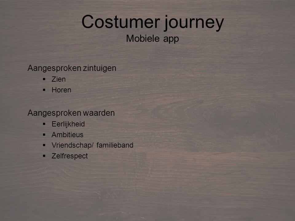 Debriefing Costumer journey Mobiele app Aangesproken zintuigen  Zien  Horen Aangesproken waarden  Eerlijkheid  Ambitieus  Vriendschap/ familieband  Zelfrespect