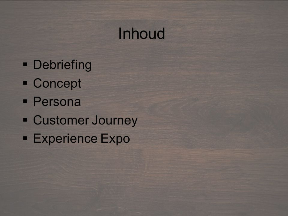 Debriefing  Debriefing  Concept  Persona  Customer Journey  Experience Expo Inhoud
