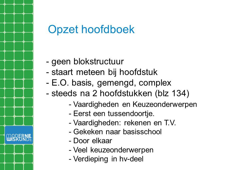 Opzet hoofdboek - geen blokstructuur - staart meteen bij hoofdstuk - E.O. basis, gemengd, complex - steeds na 2 hoofdstukken (blz 134) - Vaardigheden