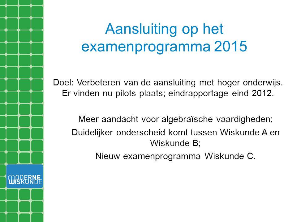 Aansluiting op het examenprogramma 2015 Doel: Verbeteren van de aansluiting met hoger onderwijs. Er vinden nu pilots plaats; eindrapportage eind 2012.