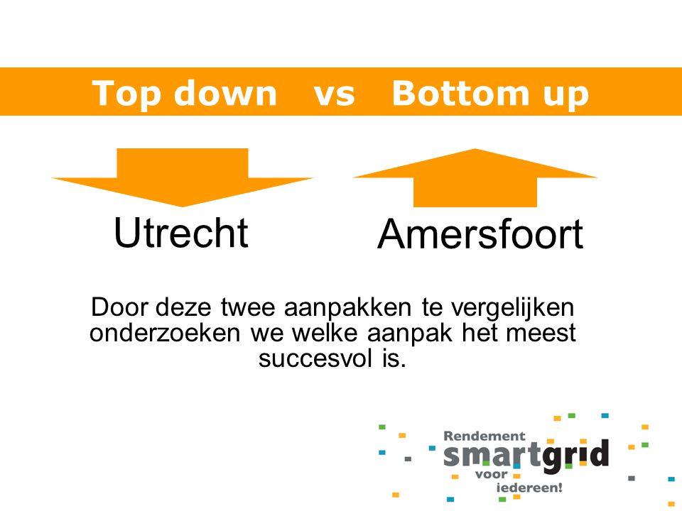 Utrecht Amersfoort Door deze twee aanpakken te vergelijken onderzoeken we welke aanpak het meest succesvol is. Top down vs Bottom up