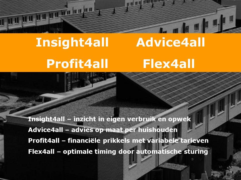 Insight4all Advice4all Profit4all Flex4all Insight4all – inzicht in eigen verbruik en opwek Advice4all – advies op maat per huishouden Profit4all – financiële prikkels met variabele tarieven Flex4all – optimale timing door automatische sturing